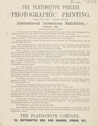 Advert for the Platinotype Company